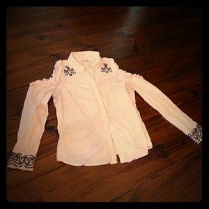 Nanette Lepore Sz Large Cold Shoulder Shirt
